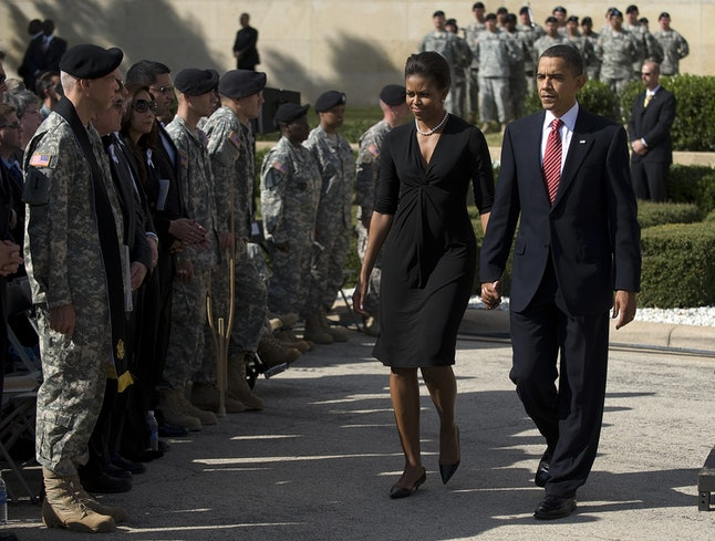 Michelle Obama and Barack Obama at Fort Hood for a memorial service in 2009