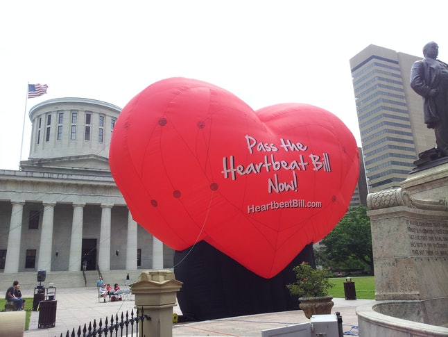 A balloon outside the Ohio statehouse in 2012 supporting the heartbeat bill.