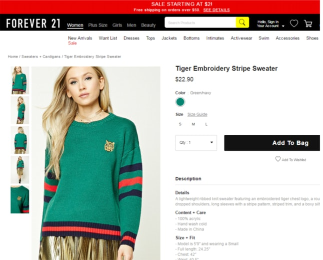 One of the Forever21 items that Gucci is alleging copies their own stripe pattern