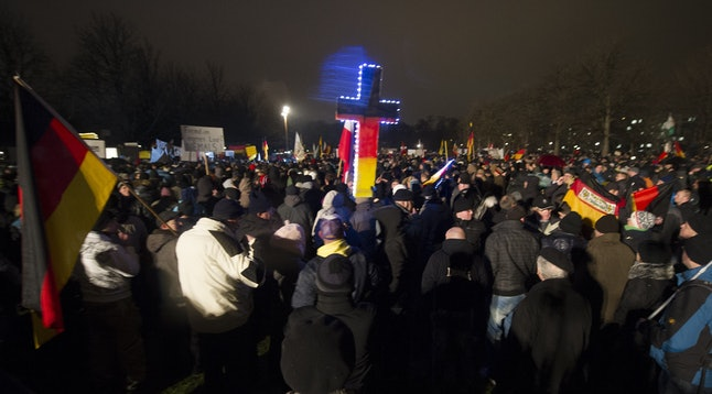 """Right-wing demonstrators protest the """"Islamicization"""" of Germany in Dresden, January 5."""