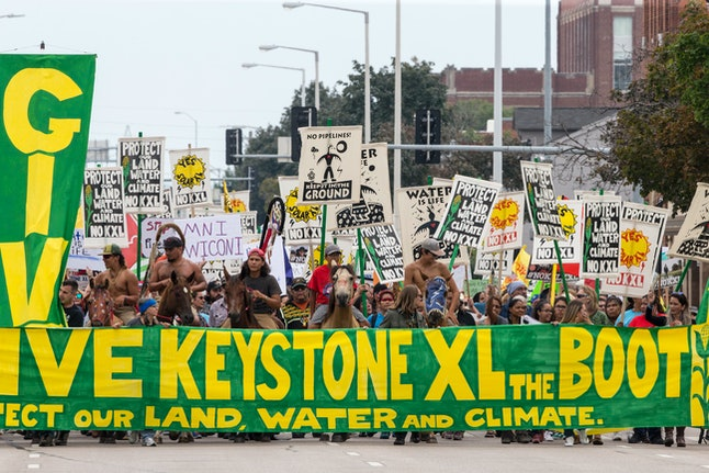 Demonstrators against the Keystone XL pipeline march in Lincoln, Nebraska, in August 2017.