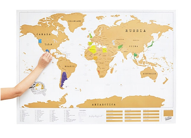 A world map that you lets you scratch off your destinations