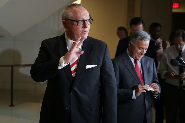 Former Trump campaign aide Michael Caputo leaves after testifying before the House Intelligence Committee in July.
