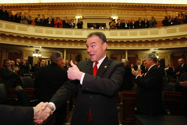 Tim Kaine arrives for his State of the Commonwealth speech in Richmond, Virginia, in 2008.