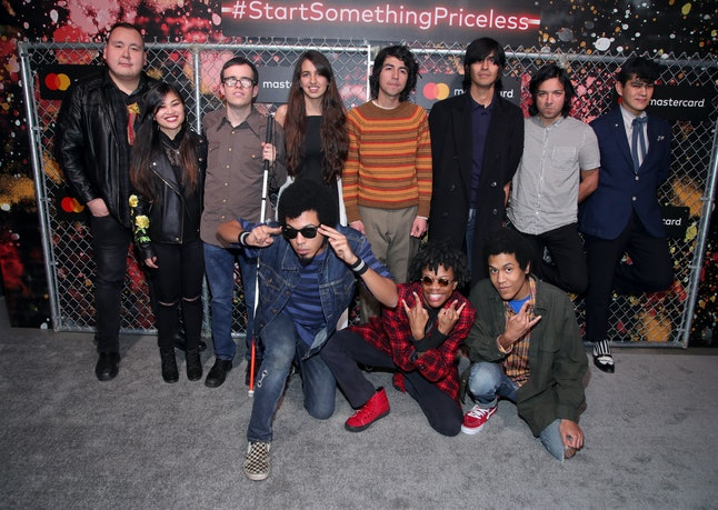 """Artists behind """"Can't Judge a Book"""": (First row, left to right) William Prince, Ruby Ibarra, Noé Socha, Victoria Canal, Venancio Bermudez, Felipe Contreras, Jimmy Conde and Johnny Santana of The Tracks. (2nd row, left to right) Isaiah Radkey, Solomon Radkey, Dee Radkey of the musical group Radkey."""