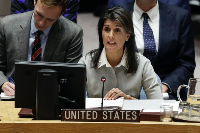 U.S. Ambassador Nikki Haley speaks in the Security Council at United Nations headquarters, Friday, Dec. 8.