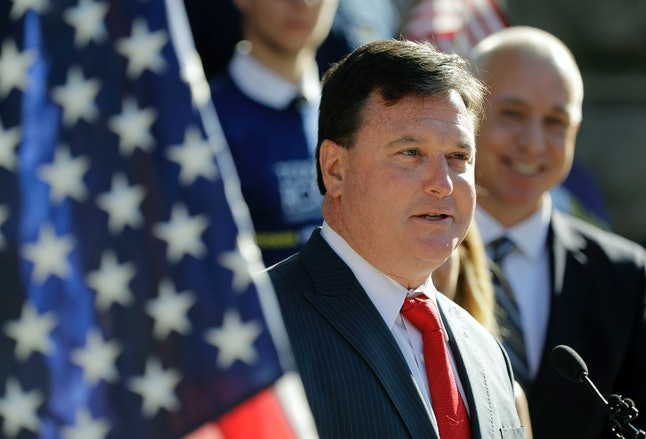 Rep. Todd Rokita (R-Ind.), speaks during a news conference outside of the Indiana Statehouse in Indianapolis on Aug. 9.