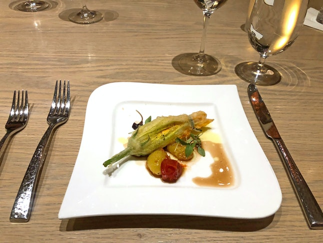 Squash blossoms stuffed with ricotta cheese