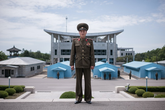 A North Korean People's Army soldier poses for a portrait on the North Korean side of the Joint Security Area in the Demilitarized Zone separating North and South Korea.