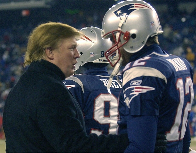 Donald Trump (left) and Tom Brady (right) at a Patriots game in 2004.