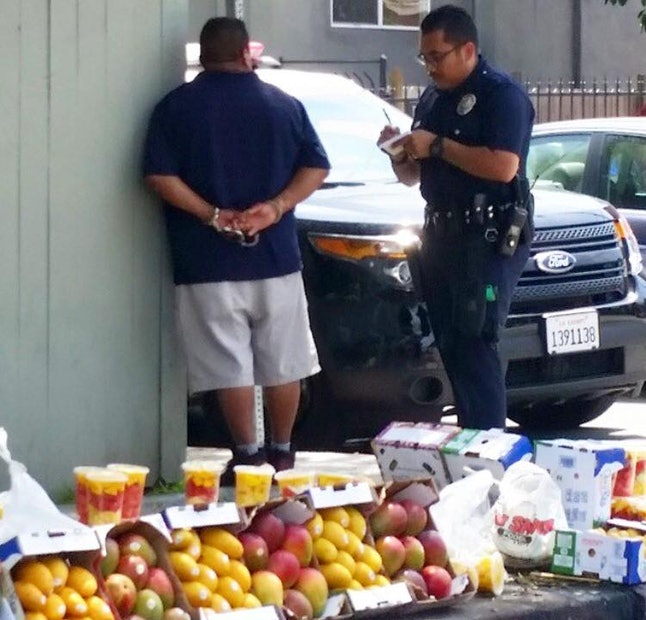 A street vendor is arrested in southern California.