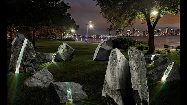 The planned monument will feature nine artificial boulders.