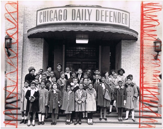 Students from Ruggles Elementary School in front of the Chicago Defender in 1960
