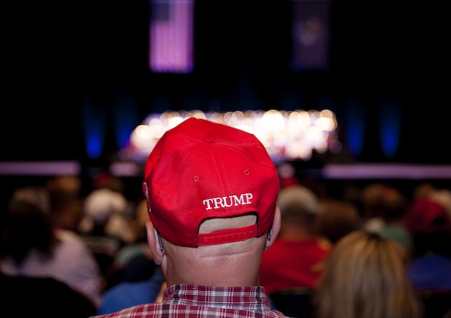 A Donald Trump supporter at one of the Republican's rallies in Portland, Maine.