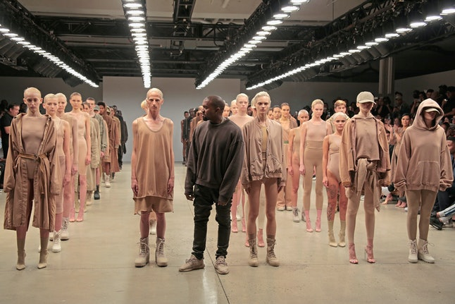 Kanye West and models at his Yeezy Season 2 show in 2015