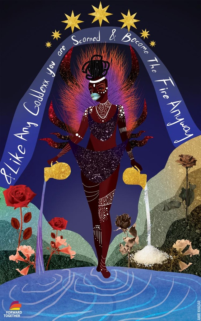 """""""litany in which you are still here"""" was illustrated by Amir Khadar and the poem was written by kiki nicole. The drawing references Oya, an orisha, goddess of wind and storms in the West African Yoruba religion."""