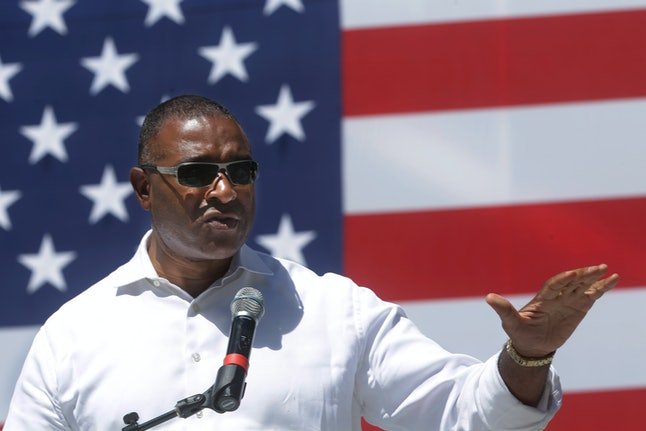 Cook County Commissioner Richard Boykin speaks to supporters during a Democrats Day rally at the Illinois State Fair in Springfield, Illinois, on Aug. 20, 2015.