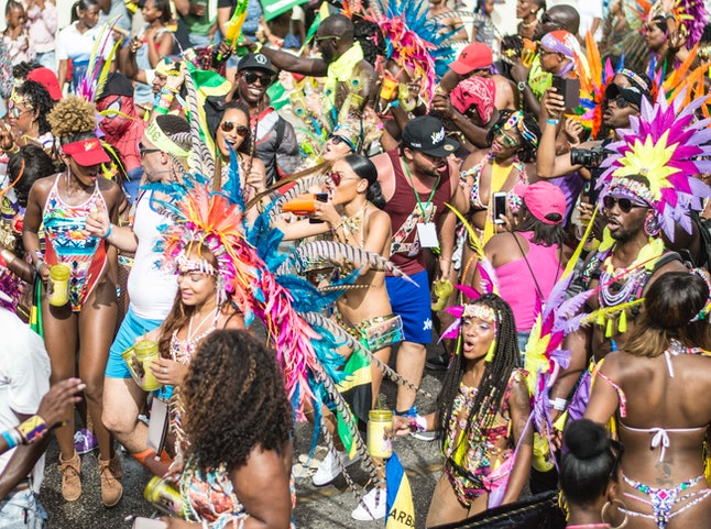 Elaborate costumes at Crop Over