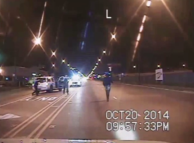 Screenshot from the video depicting Laquan McDonald's shooting death at the hands of Officer Jason Van Dyke.