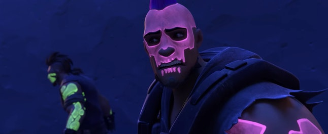 In 'Overwatch,' the Los Muertos gang is adorned with fluorescent paint that resembles the skull imagery used to signify Sombra.