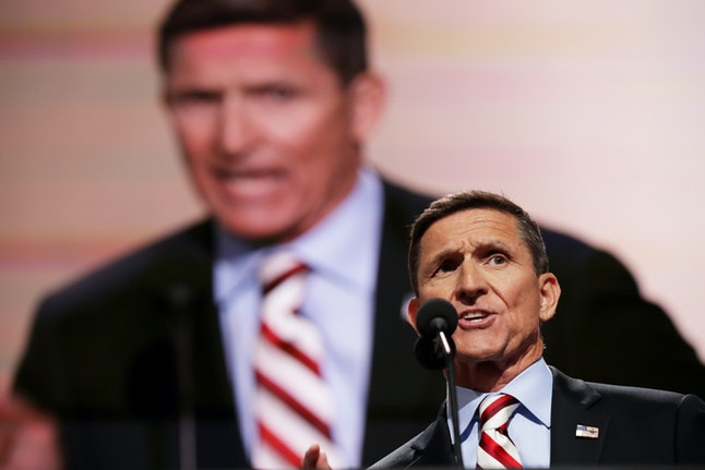 Michael Flynn speaks at the Republican National Convention in July 2016, slamming Democrat Hillary Clinton.