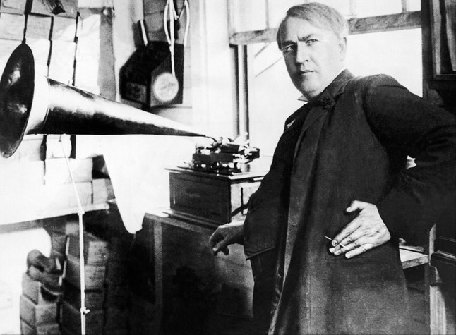 Thomas Edison with phonograph