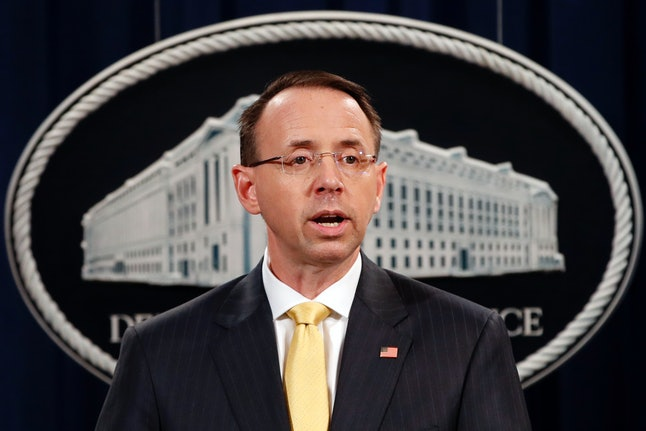 Rod Rosenstein on Friday announces the indictments of Russian nationals and entities over their alleged interference in the 2016 presidential election.