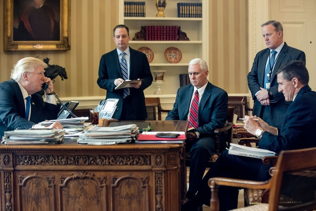 Michael Flynn, far right, is out of the Trump inner circle.