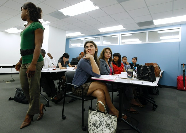 Transgender jobseekers participate in a employment search workshop.