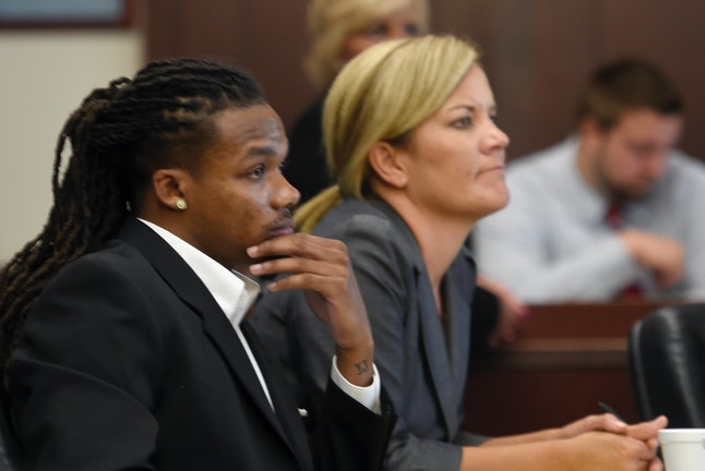 Brandon E. Banks and his attorney, Katie Hagan, during Banks' rape trial.