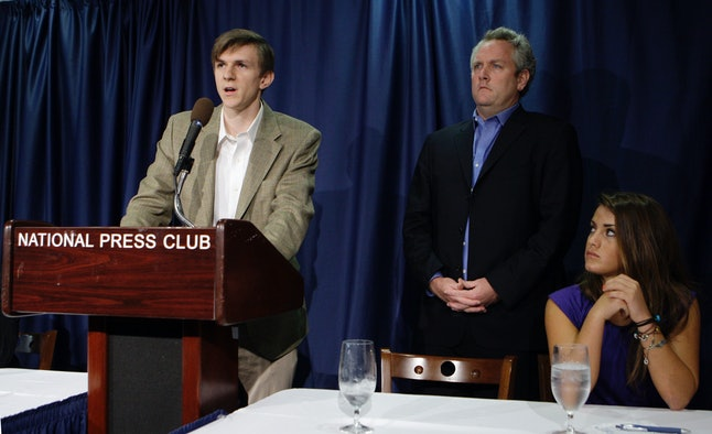James O'Keefe, left, is a protege of Andrew Breitbart, the now-deceased proprietor of Breitbart News Network, pictured on the right.