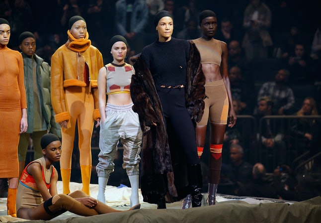 Amina Blue (second from left) at the Yeezy Season 3 show