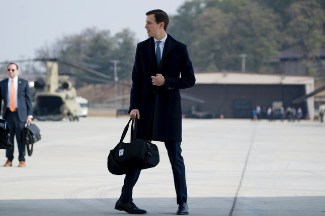Senior Adviser Jared Kushner walks across the tarmac as President Donald Trump arrives in South Korea Nov. 7.