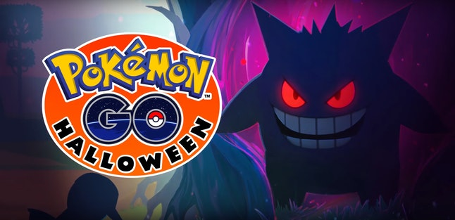 Gengar lurked in the woods during the Pokémon Go 2016 Halloween event.