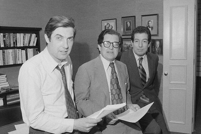 From left, Reporter Neil Sheehan, Managing Editor A.M. Rosenthal and Foreign News Editor James L. Greenfield in an office of the New York Times in New York, May 1, 1972, after it was announced the team won the Pulitzer Prize for public service for its publication of the Pentagon Papers.