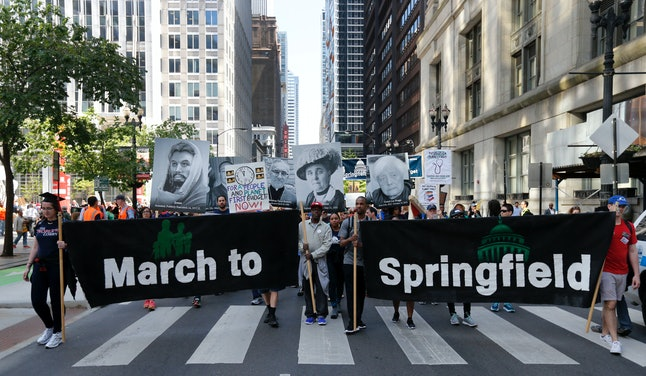 Demonstrators in Chicago begin a march to Springfield, Illinois, in May to protest the state's budget crisis.