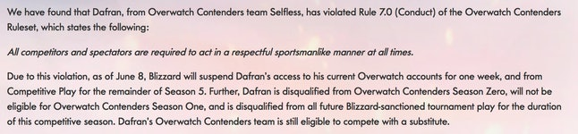 Overwatch Contenders released an official statement banning Dafran from the game.