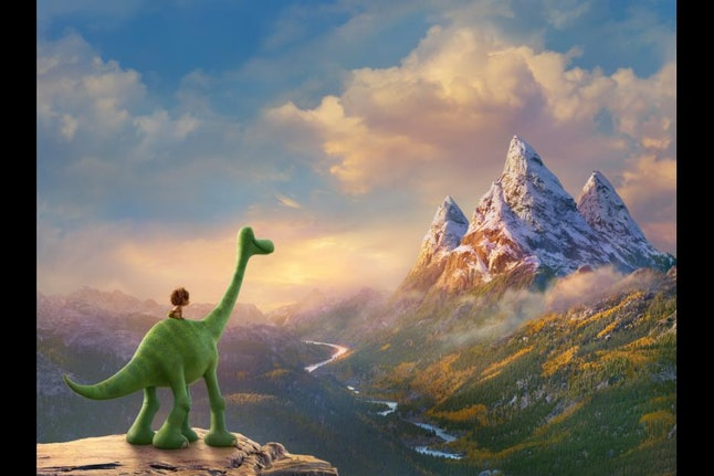 Arlo, a dinosaur voiced by Raymond Ochoa, with Spot, a human child voiced by Jack Bright