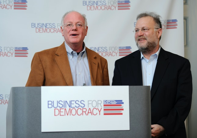 Ben Cohen and Jerry Greenfield, the founders of Ben & Jerry, are pictured at a press conference in Washington, D.C.