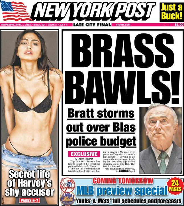 The New York Post's front page on April 1, 2015