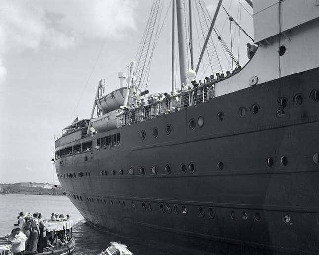 In this photo of June 1, 1939, the German liner St. Louis is denied entrance to the Havana, Cuba harbor. The ship, carrying 917 German Jewish refugees, was later denied entrance to the United States and returned to Hamburg, Germany.