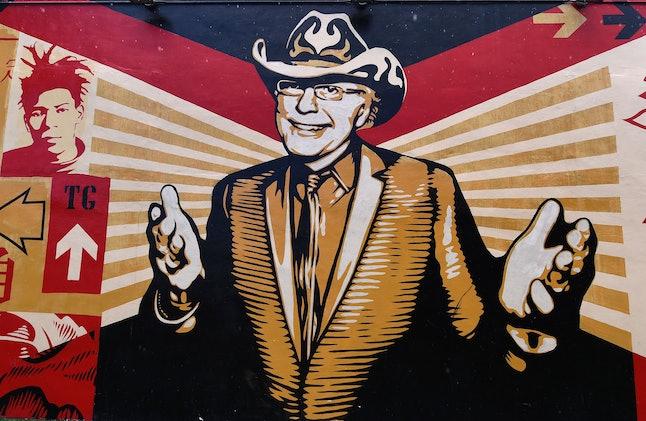 A mural by artist Shepard Fairey in the Wynwood neighborhood in Miami, Florida