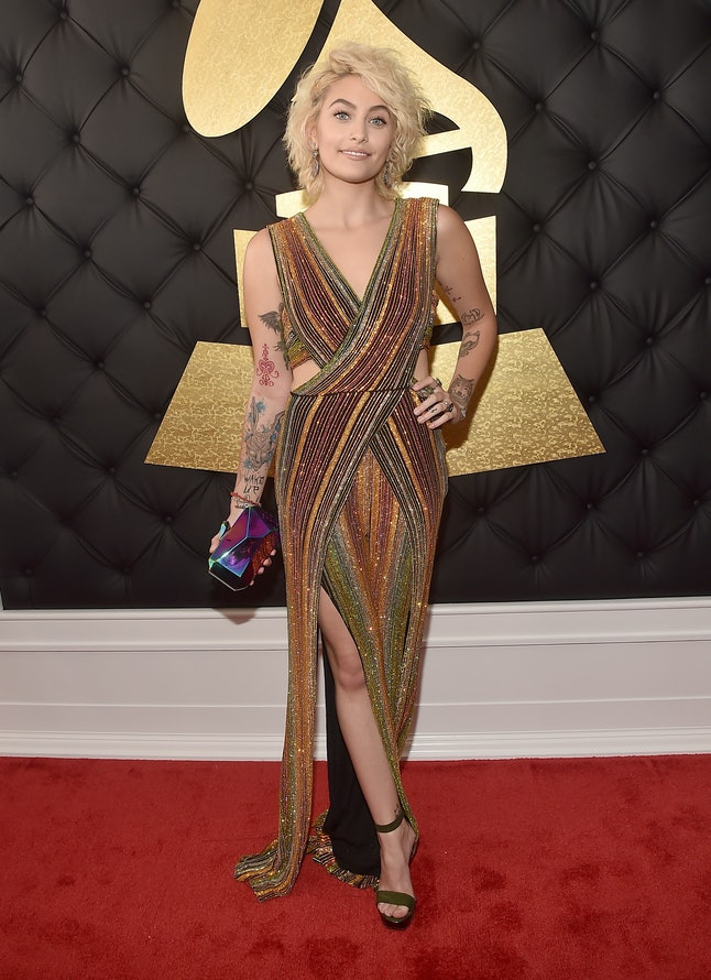 Paris Jackson attends the 59th annual Grammy Awards on Sunday at the Staples Center.