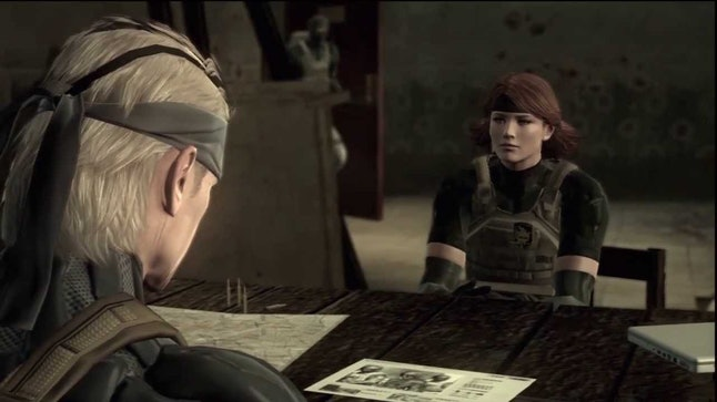 Meryl and Old Snake in 'MGS4: Guns of the Patriots'