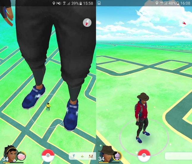 But has the player on the left joined the player on the right's game as a giant, or has the player on the right joined the player on the left's game as a very small trainer?