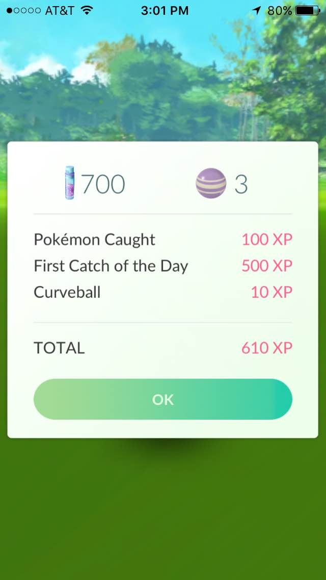 You get 500 bonus XP and 600 bonus Stardust for the first Pokémon you catch every day in Pokemon Go