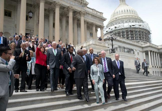 Rep. Nancy Pelosi (D-CA) leaves Capitol Hill after a congressional debate on gun control.