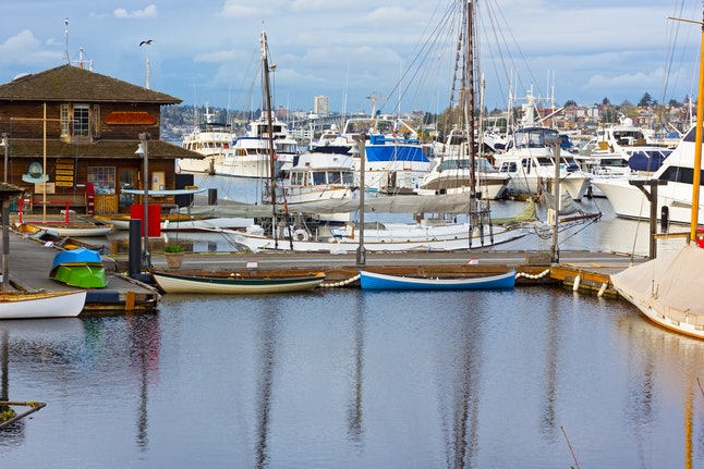 Wooden boats patiently await their passengers on Lake Union.