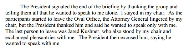 James Comey's written testimony describes other administration officials' reactions to Trump asking to speak to Comey alone.