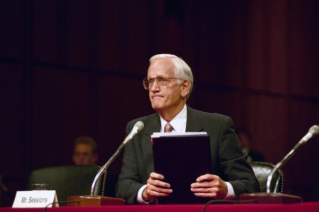 William Sessions testifies during a 1995 congressional hearing.